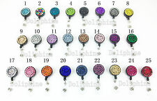 Bling Multi-Color Rhinestone Retractable ID Badge Reel Holder