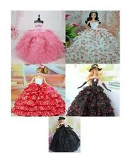 NEW WEDDING DRESS PARTY CLOTHES GOWN OUTFIT FOR BARBIE DOLL GLOVES & HAT 3 PCS