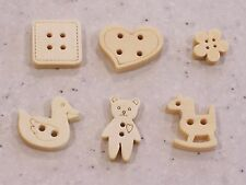 Teddy Bear, Rocking Horse, Square, Duckling, Heart Wood Buttons - FREE P&P