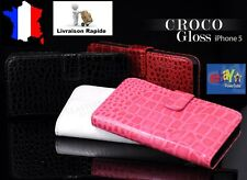 Etui Housse Portefeuille porte carte Iphone 5 coque Iphone5 Style Croco Glossy