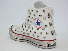 Converse all star Hi borchie teschi inv  scarpe donna uomo bianco optical white
