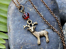 Bronze Deer Heart Necklace- Stag, Spirit Guide Animal, Protection, Woodland