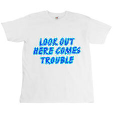 Childrens Kids White Biker Childs Slogan T-shirt Look Out Here Comes Trouble Top