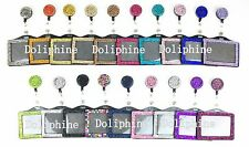 Bling Multi Colors Rhinestone Retractable Reel with Horizontal Badge Holder
