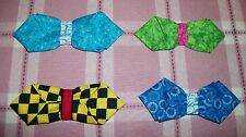 FANCY FABRIC ORIGAMI BOW TIES DOGS COLLAR BLUE GREEN CHECKERED PIK1 DAPPER DOG