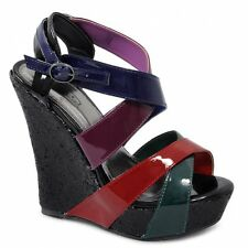Spot On Womens Ladies Wedge High Heels Buckle Patent Strappy Ankle Party Sandals