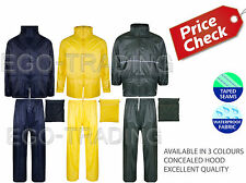 COMPACT LIGHTWEIGHT WATERPROOF PVC RAIN SUIT COAT JACKET MAC IN A BAG. RRP £15!