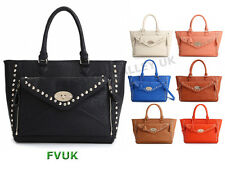 WOMENS DESIGNER INSPIRED LADIES CELEBRITY STYLE FAUX LEATHER TOTE POCKET HANDBAG
