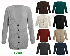 WOMENS LONG SLEEVE CHUNKY CABLE KNITTED LADIES BUTTON GRANDAD LONG CARDIGAN 8-14