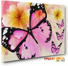 Unique Abstract Butterfly Floral Canvas Print Pink Yellow New Wall Art Picture