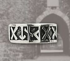 Bronze Silver Plated Viking Nordic Rune symbol Ring  - Viking Runeband Ring