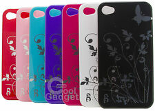FLOWERS AND BUTTERFLY HARD PLASTIC COVER CASE FOR IPHONE 4 4S