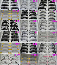 10 Pairs Black Natural Thick False Eyelashes Fake Eye Lashes Make Up