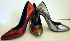 LADIES SNAKE SKIN COURT SHOES ( SPOT ON F9590)