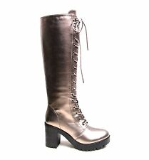 WOMENS LADIES COMBAT ARMY MILITARY LACE UP FLAT HEEL KNEE HIGH BOOTS SHOES SIZE