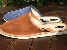 New Mens Brown Black Leather Wool Slippers Shoes 7 8 9 10 11 12 13 Flip-Flop