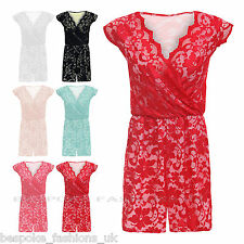 H3B Ladies Celeb Style Floral Lace Women's All in One Playsuit Jumpsuit SM & ML