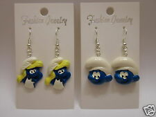 Smurf Earrings Papa Smurf , Smurfette  - 925 Sterling Silver Wires - Clip On