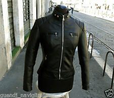 Giubbotto giacca chiodo moto byker cafe racer style donna nuovo Tg 40 42 44 46
