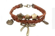 Leather friendship bracelet antique bronze charms hello kitty infinity bow love