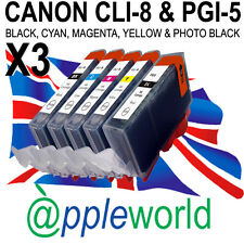 15 CLI8 & PGI5Bk CHIPPED Ink Cartridges compatible with CANON PIXMA printers