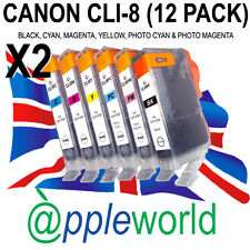 2 FULL SETS (12 INKS) of CLI8 Ink Cartridges compatible for Canon Pixma Printers