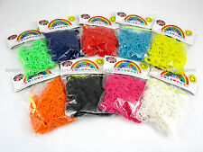 600 PCS LOOM BANDS Refill Rubber Rainbow Bracelet Making S Clips Twistz Bandz