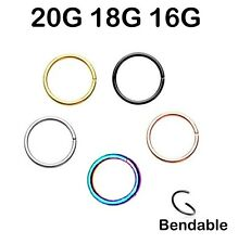 20G 18G 16G Surgical Steel Gold Black Rainbow Rose Gold Seamless Nose Hoop Ring