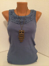 ANISTON Damen Shirt Top Blau Gr. 36 44 NEU