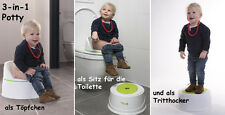 POTTY 3-in-1 Lerntöpfchen Babytopf Toilettentrainer Tritthocker Toilettensitz