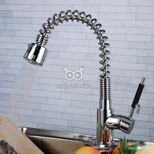 Modern Style Chrome Mixer Swivel Kitchen Sink Swan Tap Pull Out Spray