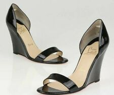NEW Christian Louboutin Passmule 100 Wedge Heels Black Patent Shoes 38.5 39 40.5