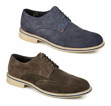 Roamers Mens Suede Leather 5 Eye Lace Up Brogue Comfy Smart Casual Desert Shoes