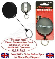 Retractable Recoil Key Ring with Belt Clip Retracting Extending Chain 1,2,4,6