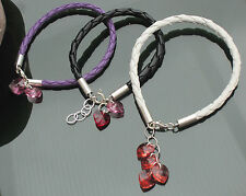 Eco Leather Cord Braided Bracelet 925 Silver with Swarovski Elements Heart Color