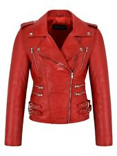 MYSTIQUE Ladies RED Vintage WASH & WAX Biker Motorcycle Designer Leather Jacket