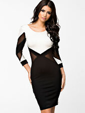 WOMENS SEXY NUDE INSERT BODYCON BLACK & WHITE PARTY DRESS TOWIE CELEB STYLE CLUB