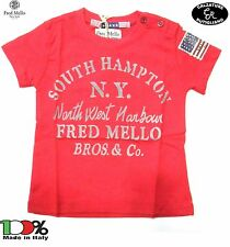 FRED MELLO MAGLIA BAMBINO T-SHIRT BABY MADE IN ITALY ROSSO - 14179