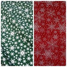 Snowflake Printed Christmas Polycotton Fabric - Red or Green (Per Metre)