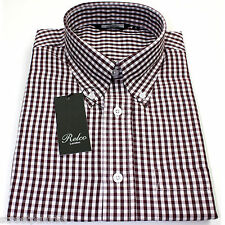 Relco Mens Burgundy White Gingham Short Sleeved Shirt Button Down Mod Skin Retro