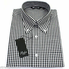 Relco Mens Black White Gingham Short Sleeved Shirt Button Down Mod Skin Retro