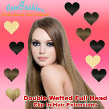 Full Head Double Wefted Clip in Hair Extensions Blend Remy Hair Extensions