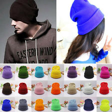 New Unisex Plain Beanie Knit Ski Cap Skull Hats Warm Winter Cuff Blank Beany