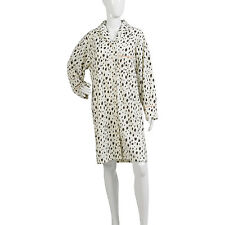 Womens Cow Print Nightshirt Ladies Long Sleeved Button Up Soft Fleece Nightie