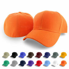 Plain Fitted Curved Visor Baseball Cap Hat Solid Blank Color Caps Hats - 9 SIZES