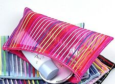 Stripe Nylon Zipped Pencil Case Colorful Make Up Cosmetic Bag Toiletry Bag Pouch