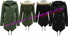NEW LADIES GIRLS ALLURE FAUX FUR HOODED BRAVE SOUL OVERSIZED PARKA COAT JACKET