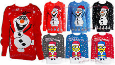 Women Ladies Novelty Olaf Frozen Knitted Cute Cheky Minion Christmas Xmas Jumper