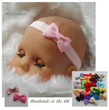 Baby Bow Headband Hairband soft elastic 4cm Bow different sizes colours