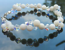 Mother of Pearl and Swarovski Elements Crystal AB 925 Sterling Silver Bracelet